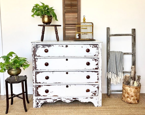 White Rustic Dresser - Farmhouse Furniture