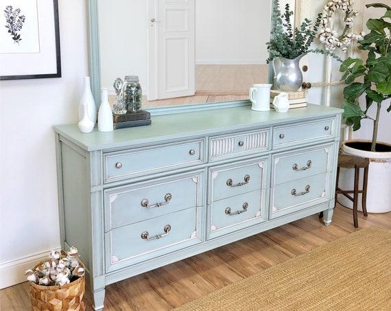 Green Dresser with Mirror - Hollywood Regency Furniture - 9 Drawer Triple Dresser - Real Wood Furniture - TV Credenza