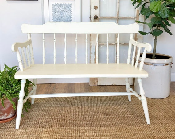 Small White Wooden Bench with Spindle Back - Farmhouse Bench