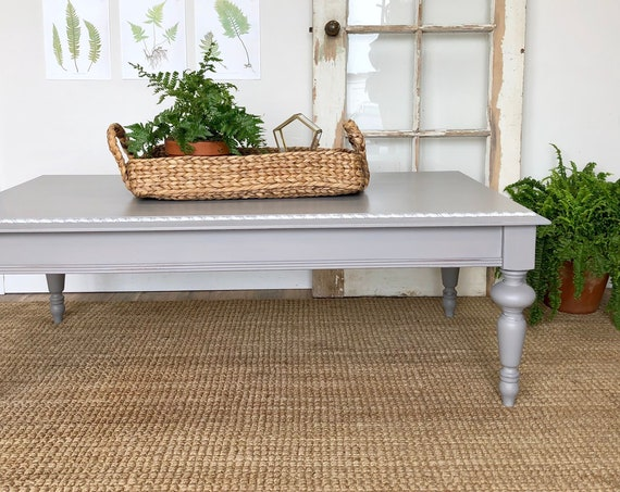 Large Gray Coffee Table - Farmhouse Furniture