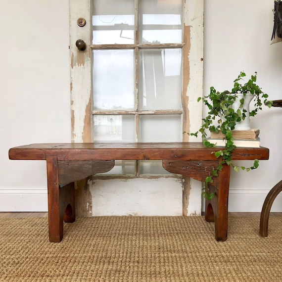 Rustic Wooden Bench - Primitive Farmhouse Furniture
