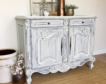 White Sideboard Buffet   French Provincial Furniture   Entryway Cabinet    Antique Painted Furniture   French Country Farmhouse Buffet