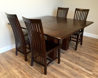 Square Dining Table   Dining Room Table And Chairs Set   Large Dining Table,  Solid Wood Table   Used Furniture NJ   Rustic Dining Table