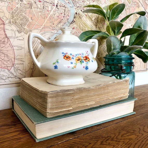 Vintage China Sugar Bowl with Lid - Antique Collectible Items - Lido WS George 1940s Old China Patterns - Square Floral Pot