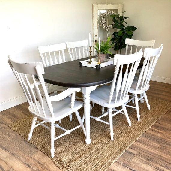 Farmhouse Table Set - White Distressed Furniture
