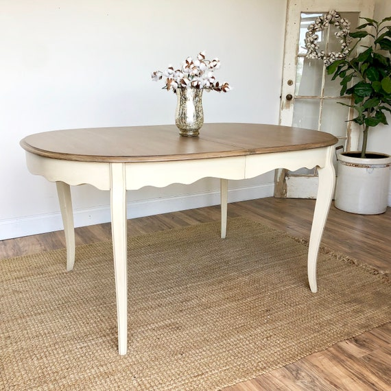 Yellow French Country Dining Table Shabby Chic Distressed Wood Table Painted Dining Room Furniture