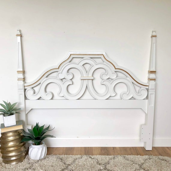 White Queen Size Headboard - Hollywood Regency Furniture - Guest Room Furniture - Antique Painted Furniture
