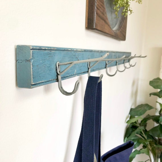 Blue Antique Wall Mounted Coat Rack - Rustic Farmhouse Decor - Distressed Vintage Home Decor