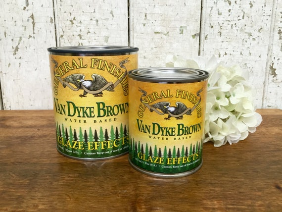 Paint Glaze - General Finishes - Antiquing Glaze - Van Dyke Brown - Translucent Paint - Faux Finish Paint
