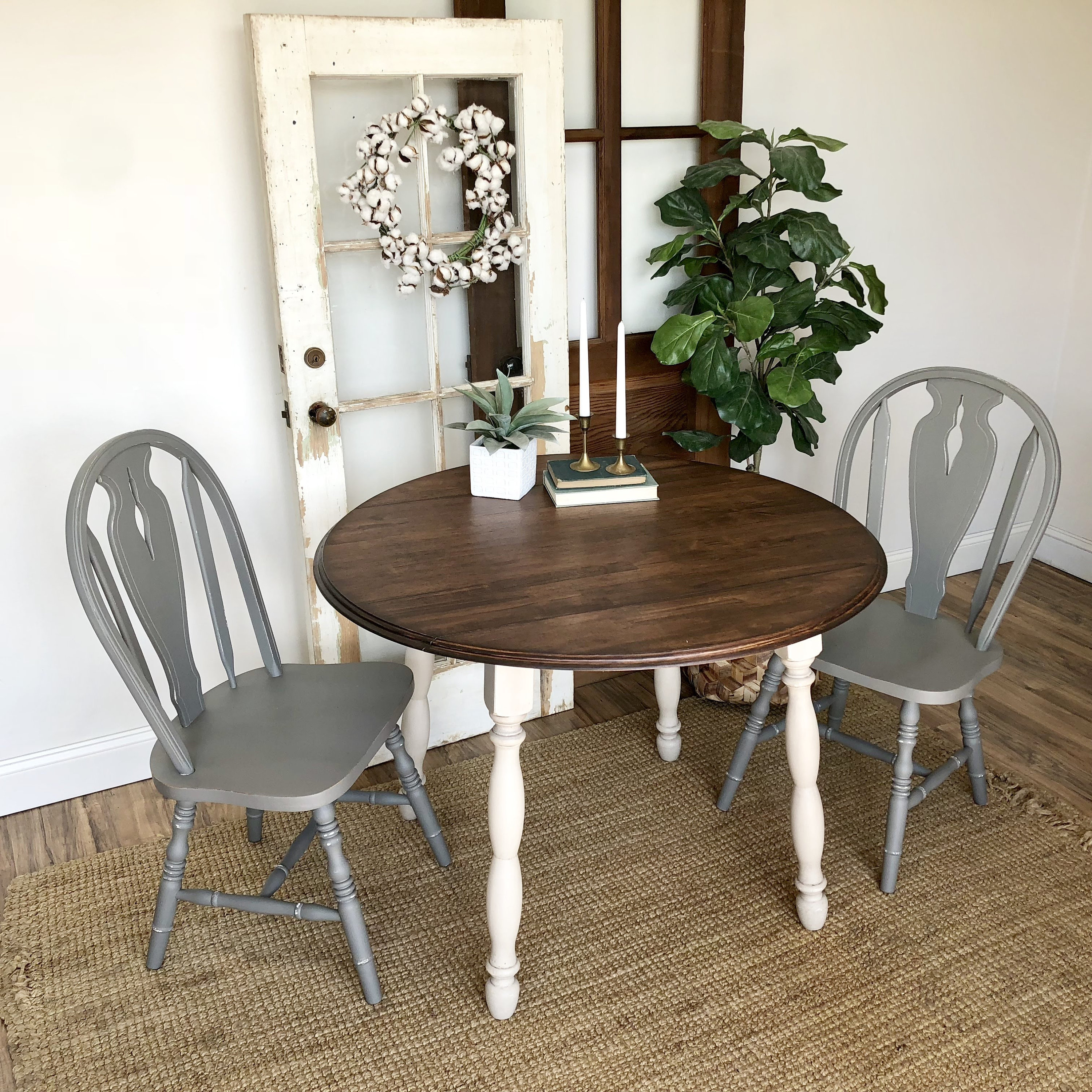 Round Table And Chairs   Farmhouse Furniture   Blue Dining Chairs   Drop Leaf  Table   Round Table   Vintage Furniture