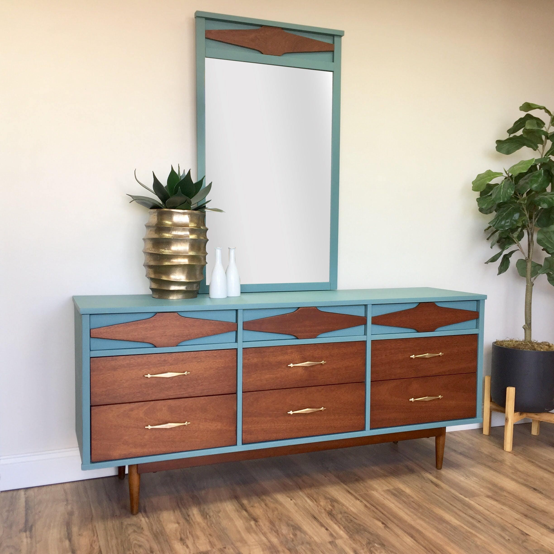 century vintage modern mod dixie dresser mid with lowboy epoch by mirror walnut