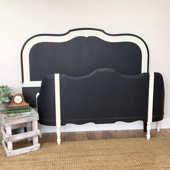 Black and White Full Size Bed Frame - Vintage Double Bed - Distressed Furniture - Antique Wooden Bed Frame