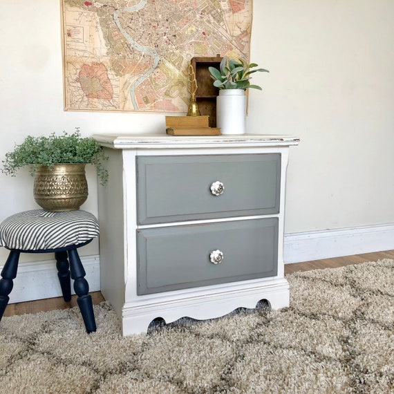 White Nightstand - Farmhouse or Coastal Furniture perfect for Guest Room - Painted Distressed Furniture - Shabby Chic Style