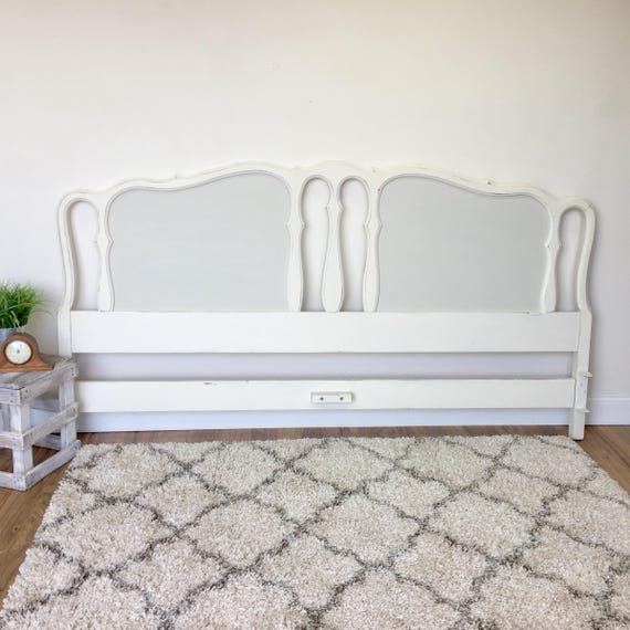 White King Headboard - French Provincial - Antique Bedroom Furniture - Shabby Chic Headboard - King Size Bed Headboard, Distressed Furniture
