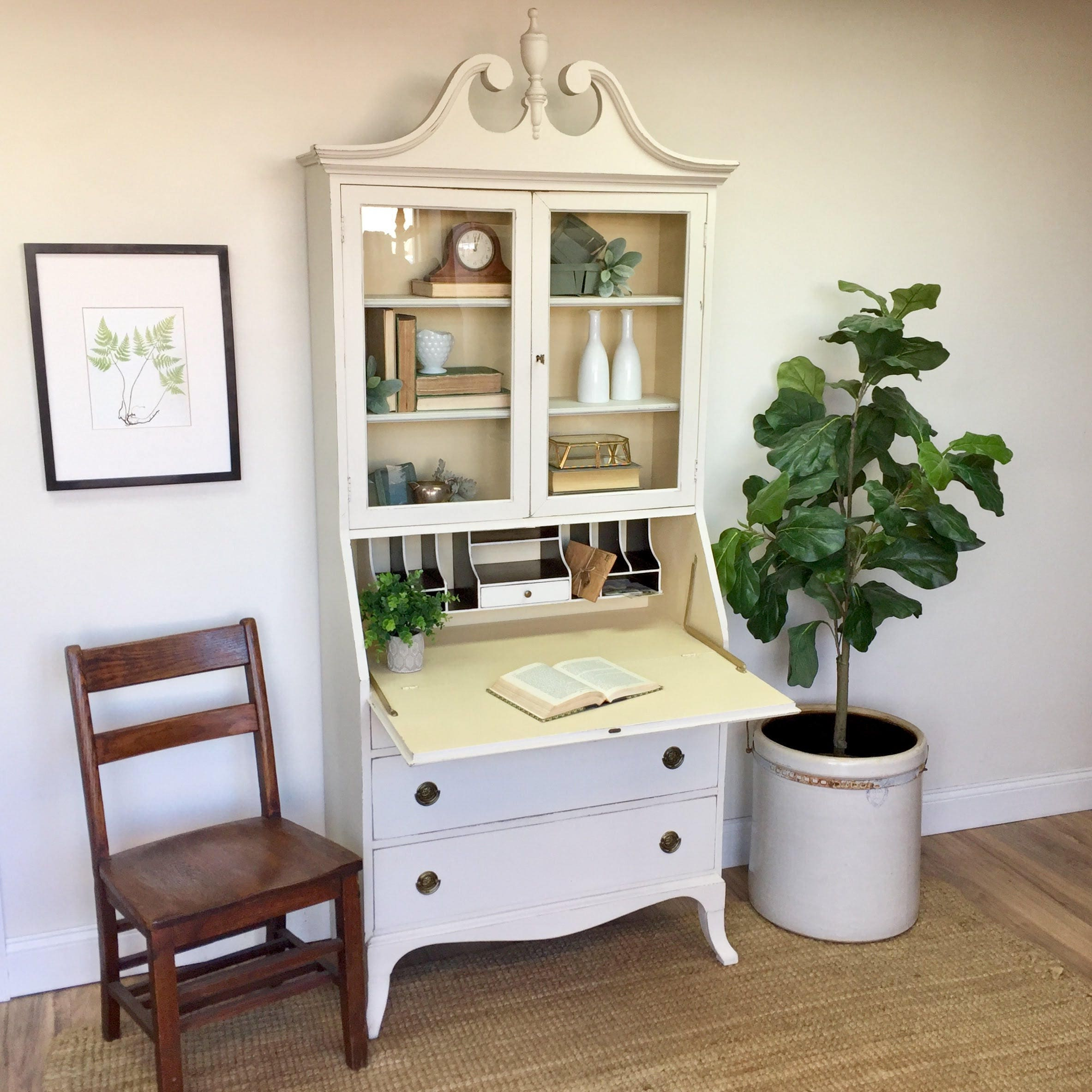 Merveilleux Antique Secretary Desk With Hutch   Home Office Furniture   Compact Desk   Tall  Secretary Desk   Drop Front Desk   Home Desk   Antique Desk