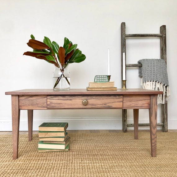 Small Oak Coffee Table with Drawer - Mission Style Furniture