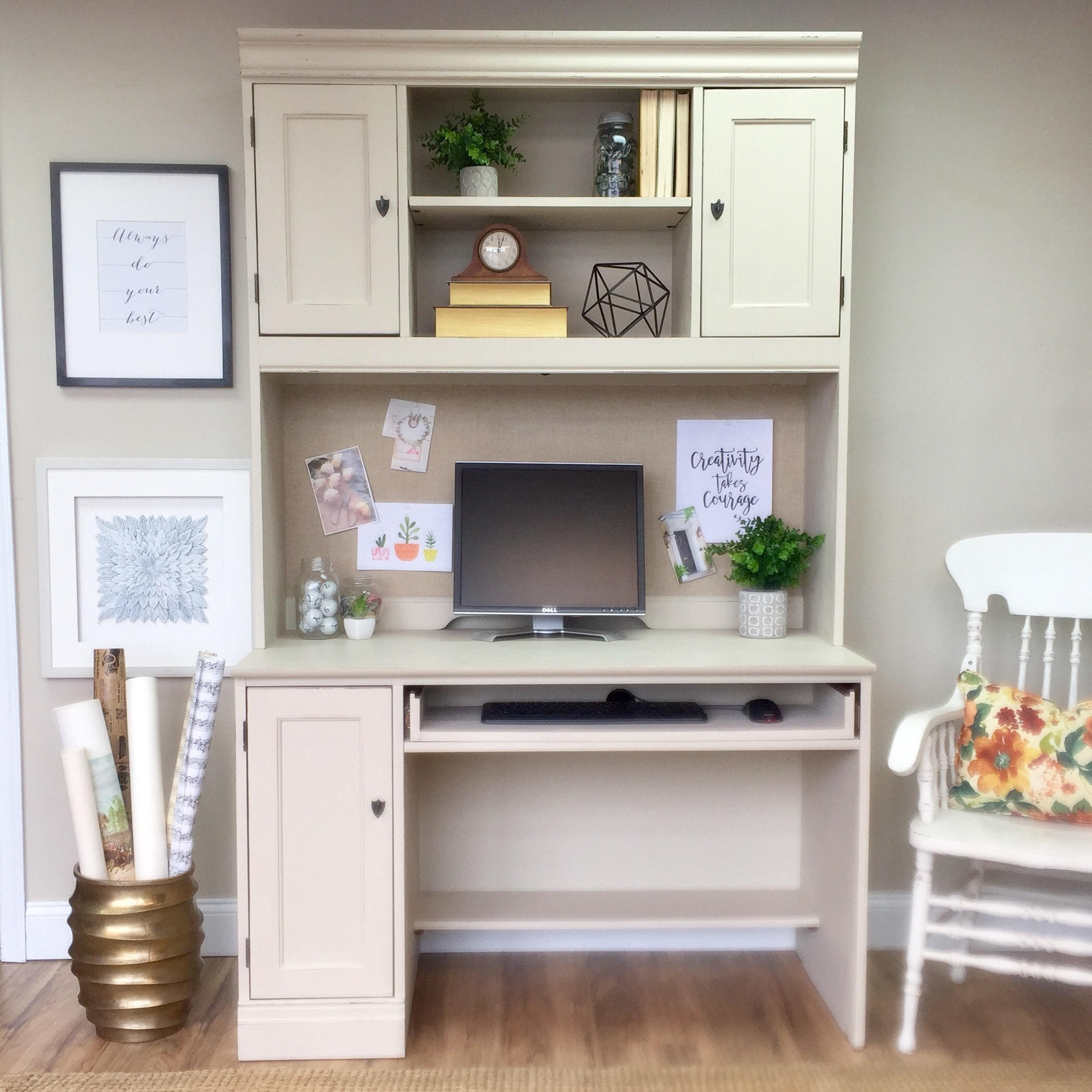 White computer desk with hutch large distressed hooker furniture pc desk