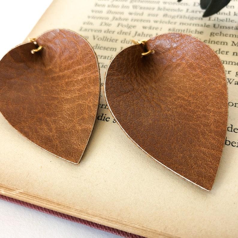 Faux Leather Jewelry Fall Season Gift Brown Leaf Earrings