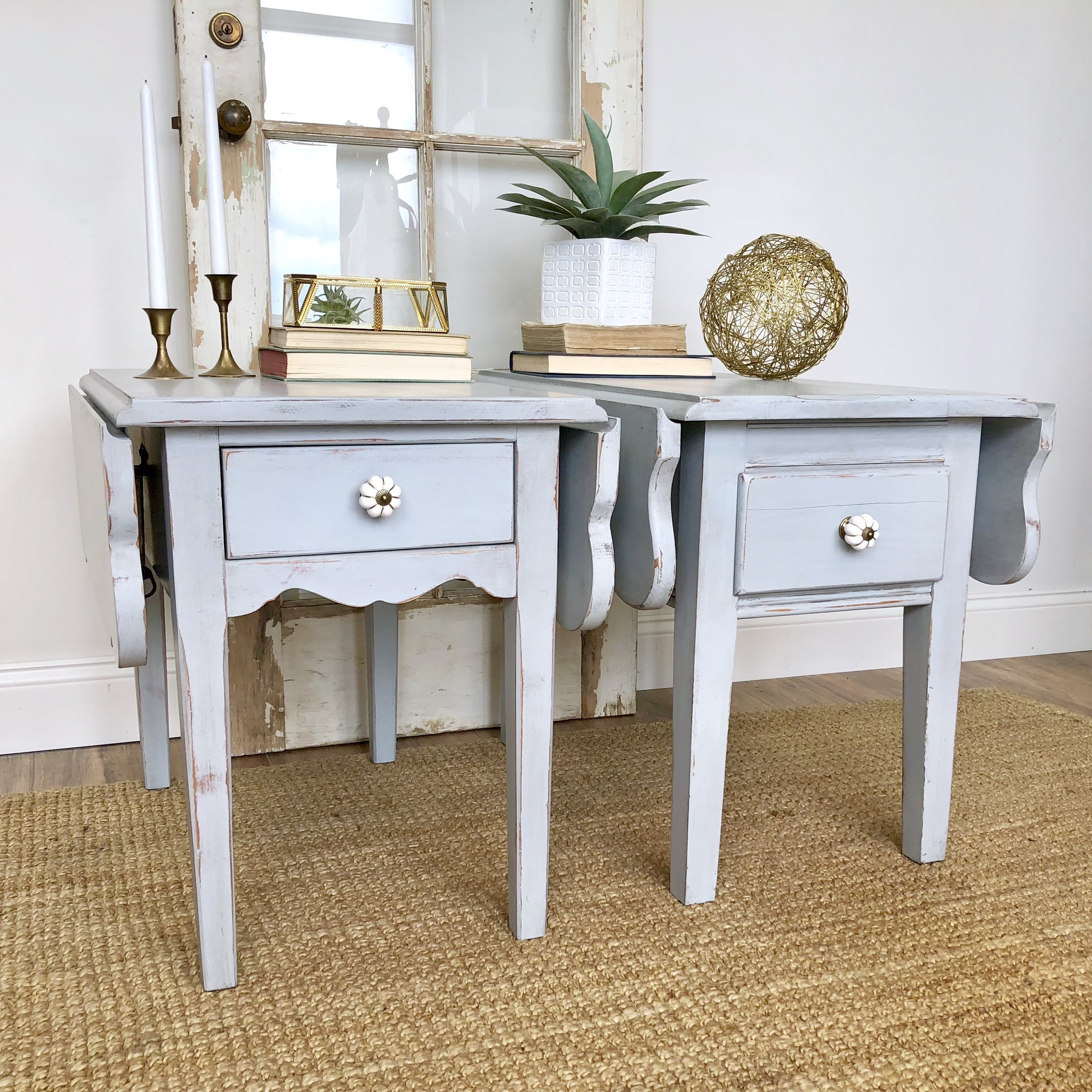 Pair Of Blue Gray Distressed End Tables   Small Living Room Tables   Pair  Of Nightstands   Narrow Drop Leaf Side   Tables Cottage Furniture