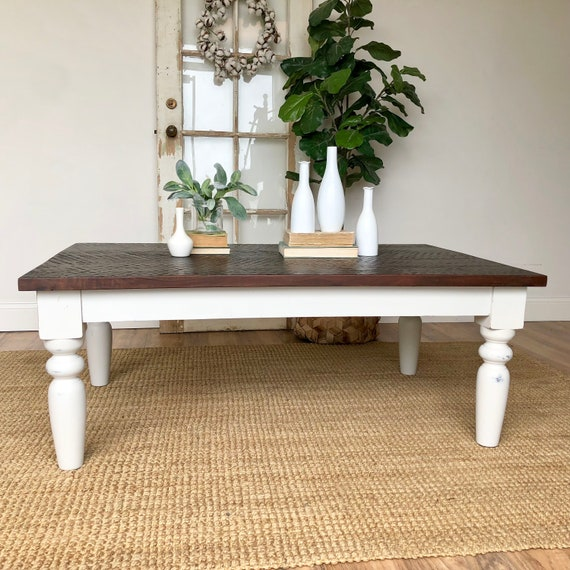 Distressed Farmhouse Living Room: White Farmhouse Coffee Table Rustic Distressed Wooden