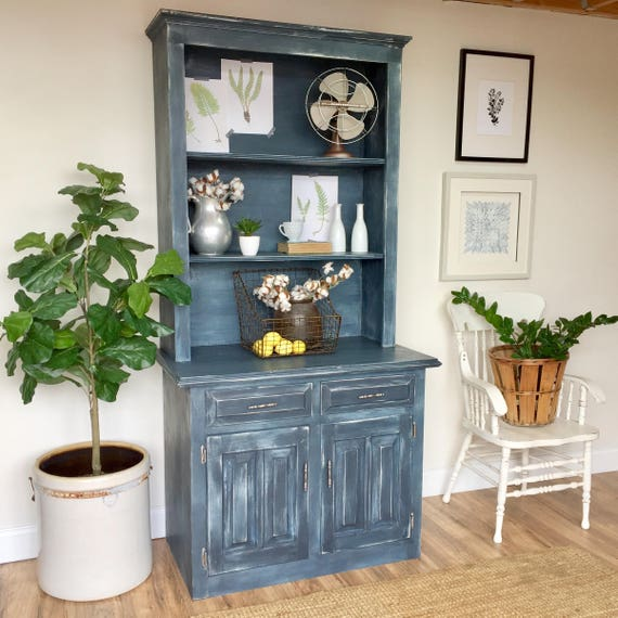 Blue Farmhouse Style Kitchen Hutch Cabinet - Antique Cupboard - Painted Distressed Furniture - French Country Furniture - Vintage Furniture
