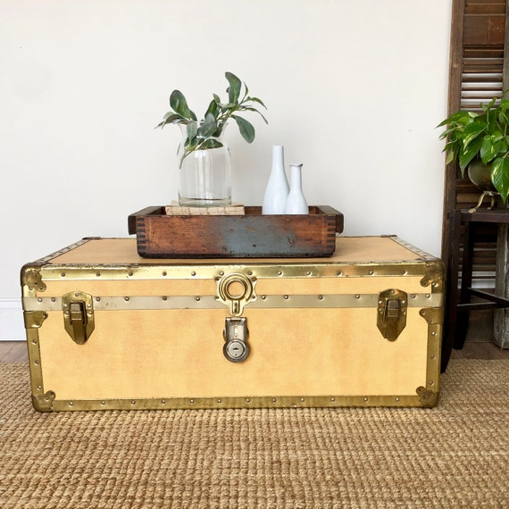 Yellow Steamer Trunk Coffee Table - Rustic Cabin Decor
