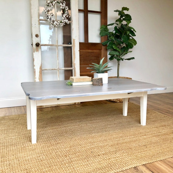 Gray Coffee Table - Coastal Furniture - Drop Leaf Coffee Table - Distressed Furniture - Expandable Coffee Table - Beach House Furniture