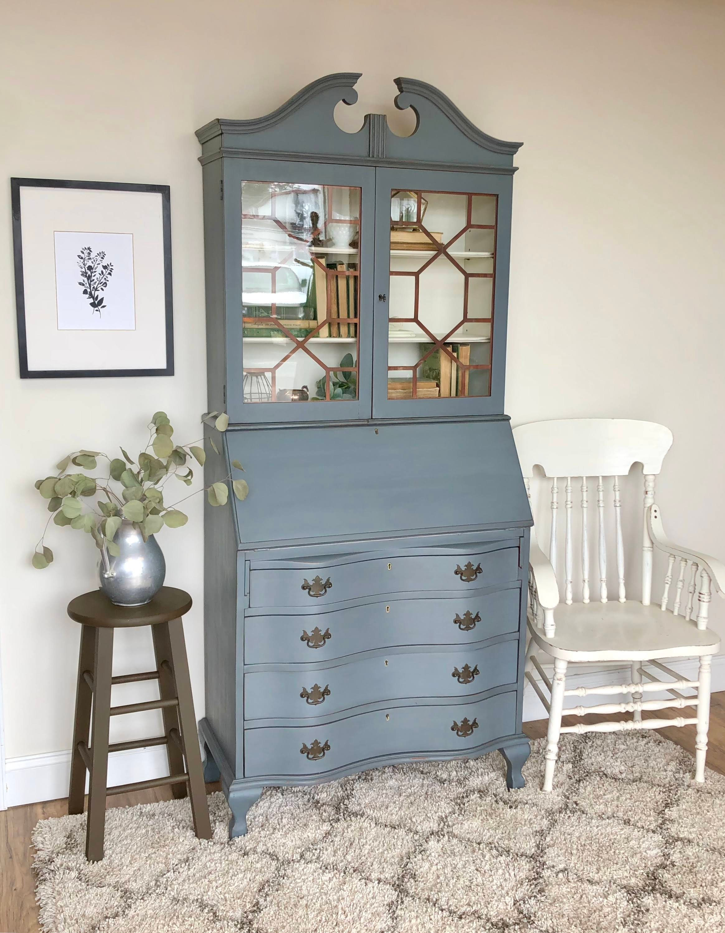 Antique Secretary Desk With Hutch Home Office Furniture Compact