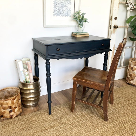 Navy Blue Antique Secretary Desk with lift top - Small Home Office Writing Table - Compact Desk or Entryway Table