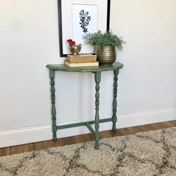 Green Half Moon Side Table - Living Room Console Table - Distressed Wood Furniture - Antique Sofa Table
