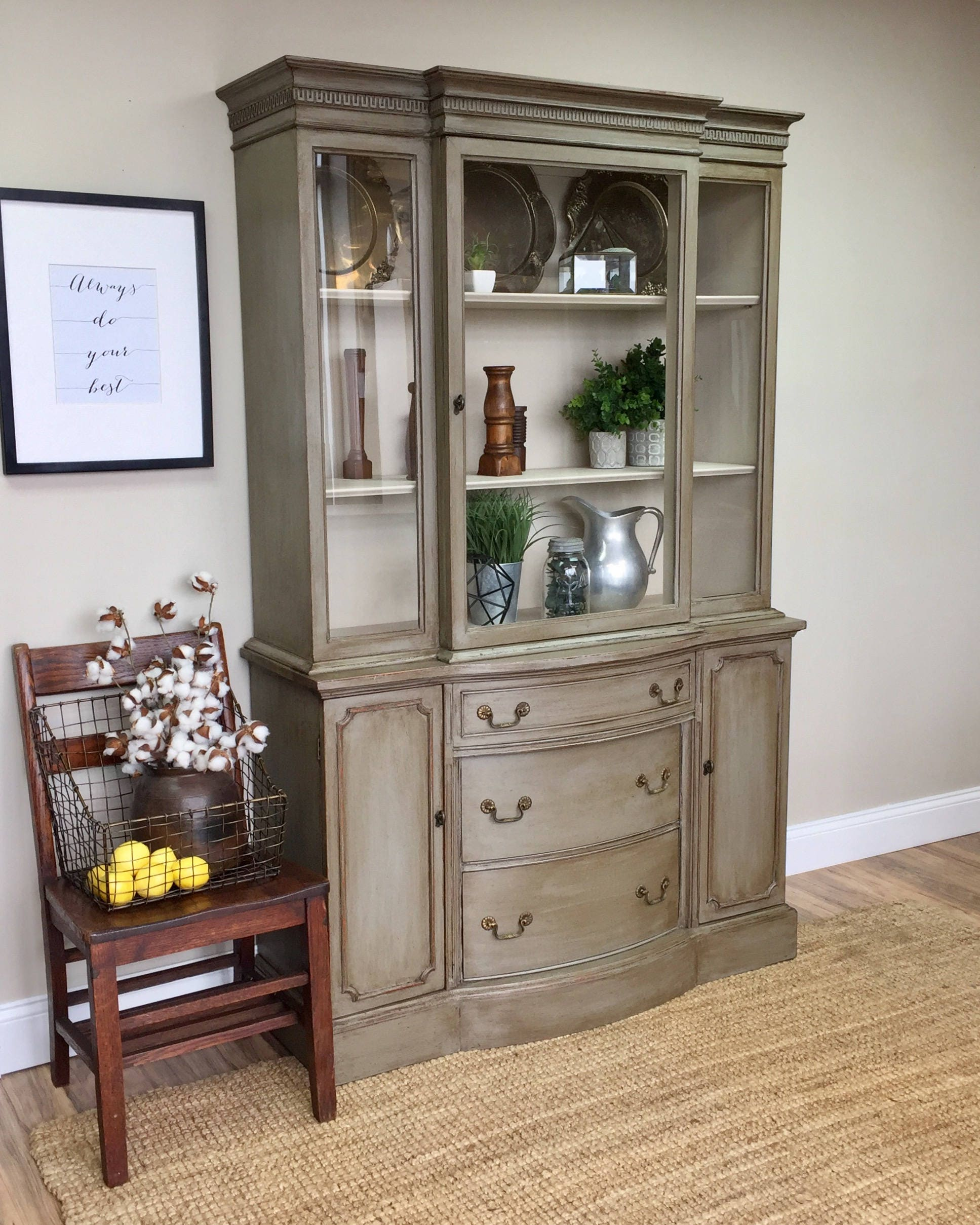 Vintage China Cabinet Distressed Furniture Antique China Cabinet