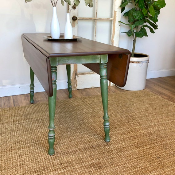 Small Drop Leaf Dining Table - Painted Furniture - Fold Down Kitchen Table - Distressed Furniture - Solid Wood Table - Extendable Table