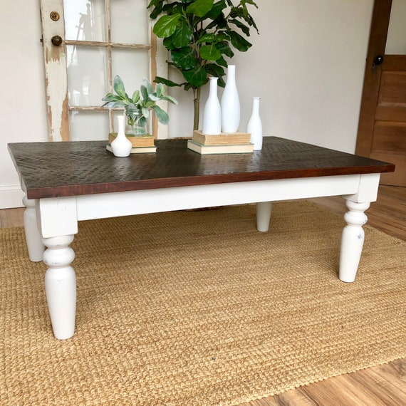 White Farmhouse Coffee Table - Rustic Distressed Wooden Furniture - Living Room Table