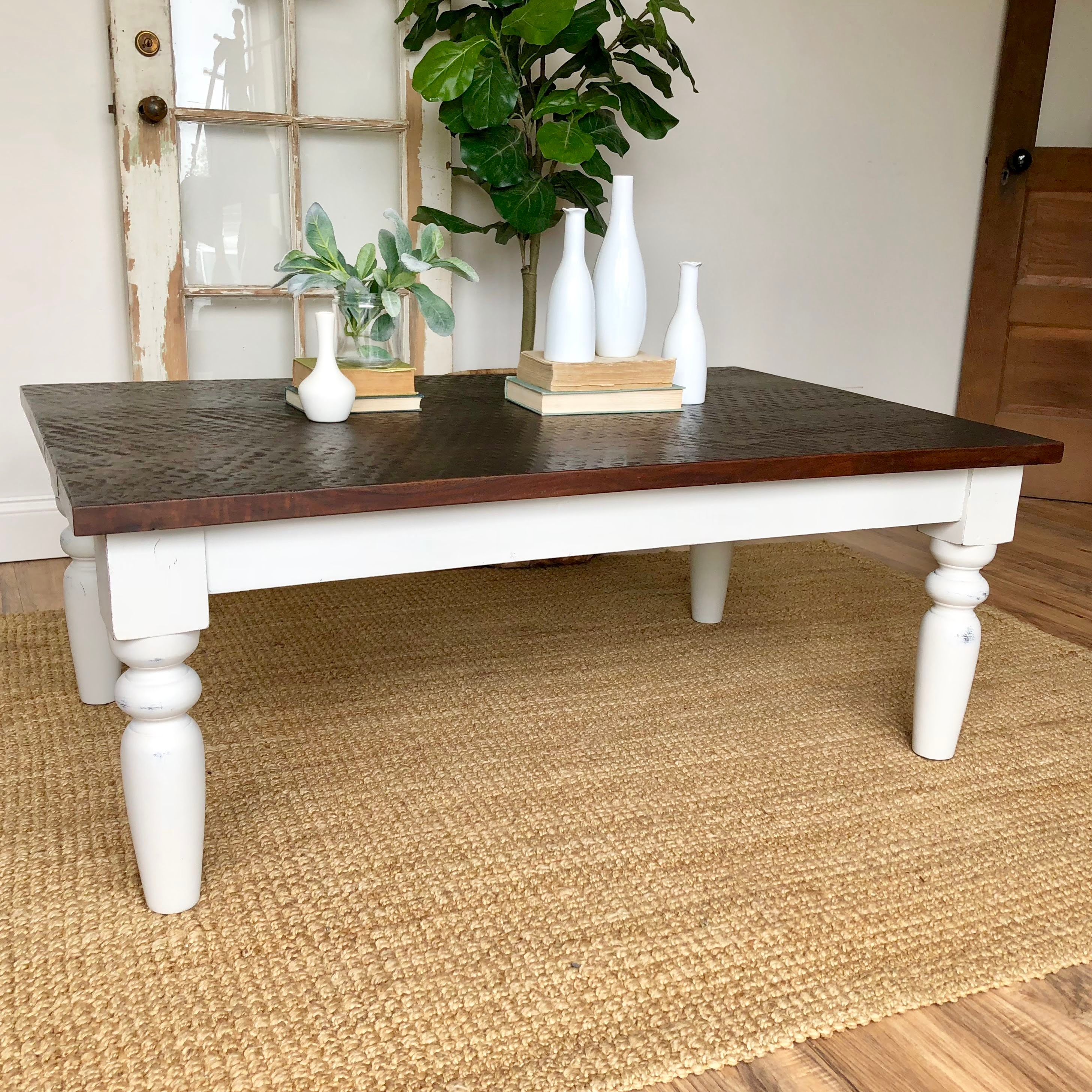 Vintage Wood Coffee Table Nage Designs: White Farmhouse Coffee Table