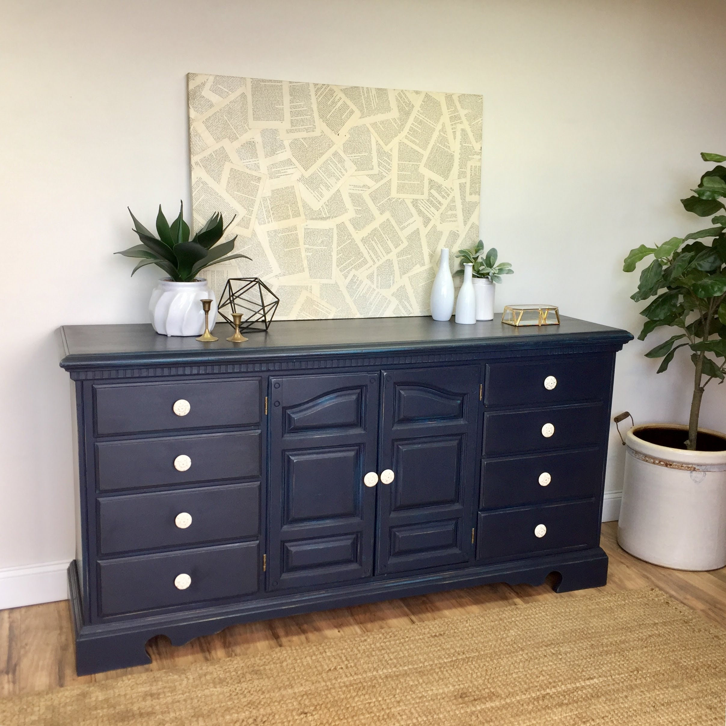Navy Blue Dresser   Vintage Furniture   Chest Of Drawers   Distressed  Dresser   Coastal Furniture   Nursery Dresser   Painted Furniture