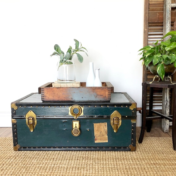 Green Steamer Trunk Coffee Table - Rustic Home Decor