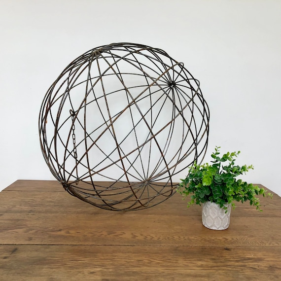 Metal Sphere Hanging Ball Large Indoor or Outdoor Ornament - Orb Chandelier - Rustic Home Decor - Hanging Ball Light