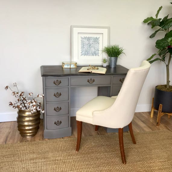 Small Vintage Writing Desk - Gray Wood Desk - Painted Furniture - Home Office Furniture