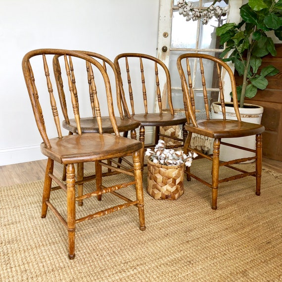 Antique Bentwood Chairs - Set of 4 French Farmhouse Kitchen Chairs - Primitive Furniture