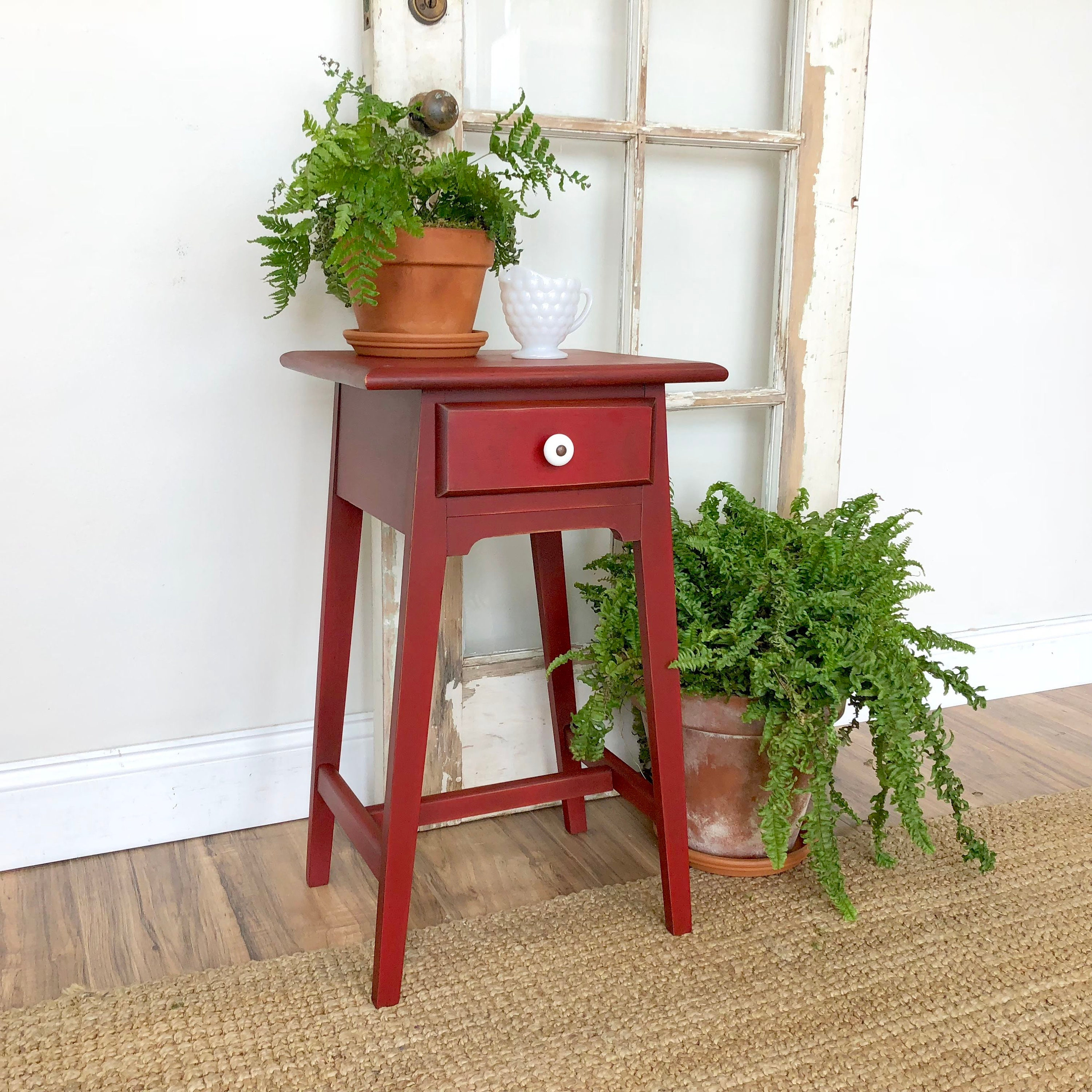 red end table antique side table farmhouse furniture small bedside table nightstand table distressed nightstand - Small Antique Side Tables