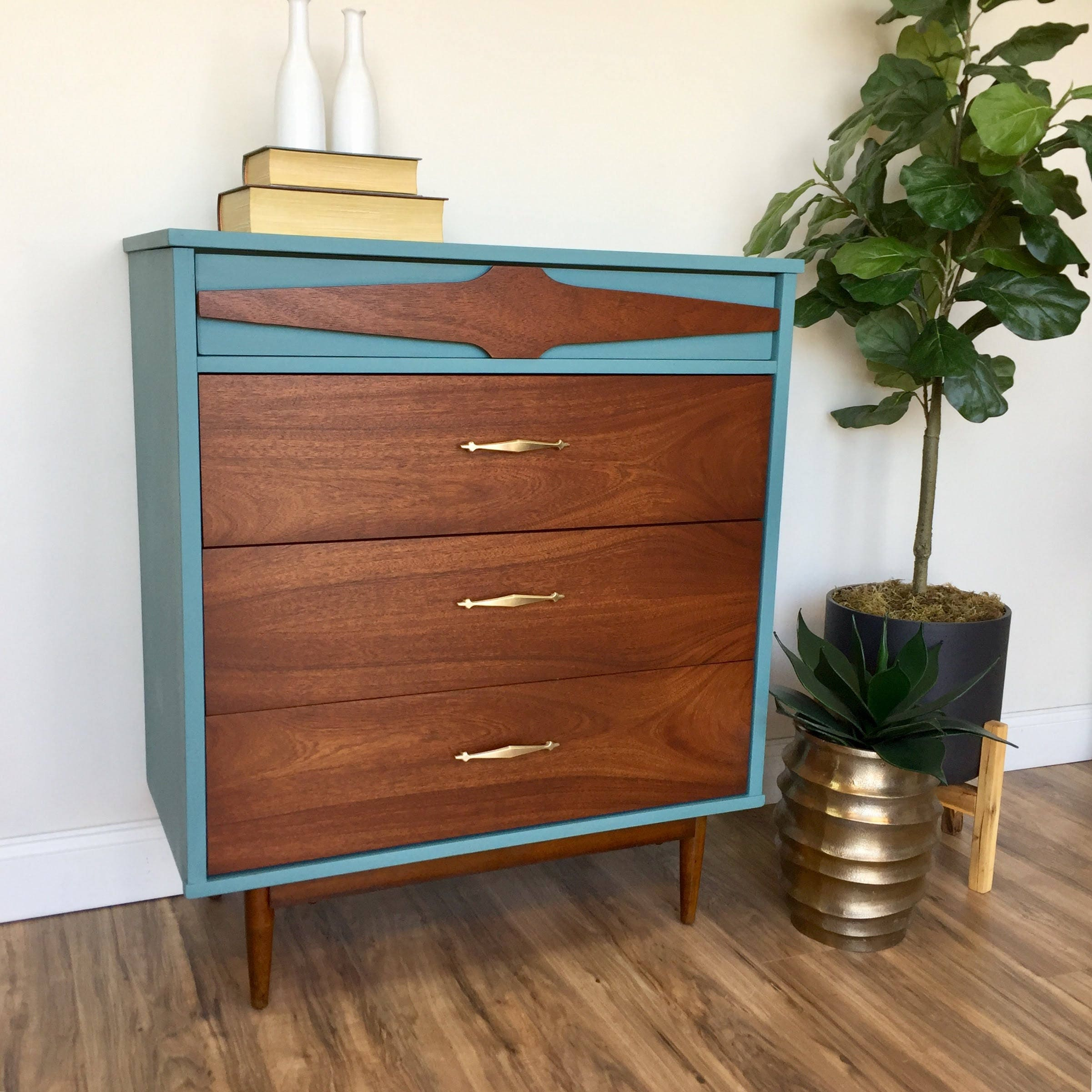 Teal Dresser   Mid Century Modern   Vintage Chest Of Drawers   Painted  Furniture   Bedroom Drawers   60s Furniture   4 Drawer Chest   MCM