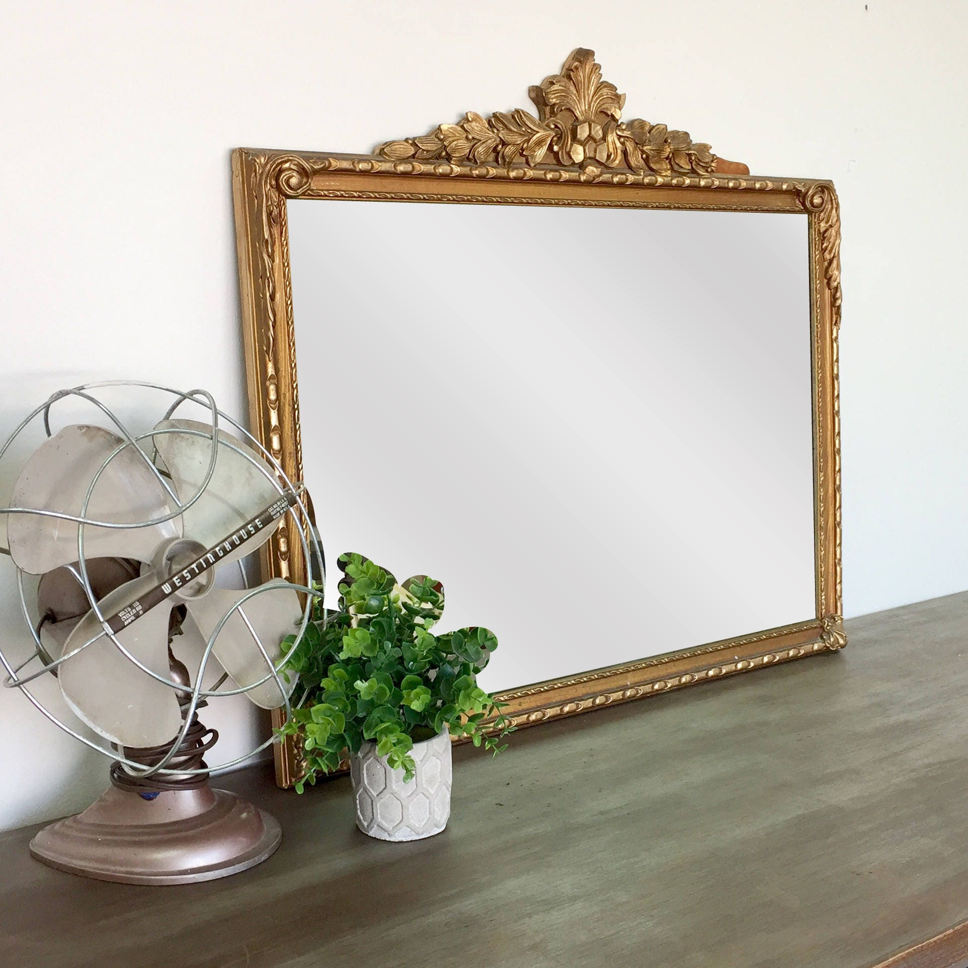 antique gold mirror - mirror wall decor - ornate mirror - vintage home
