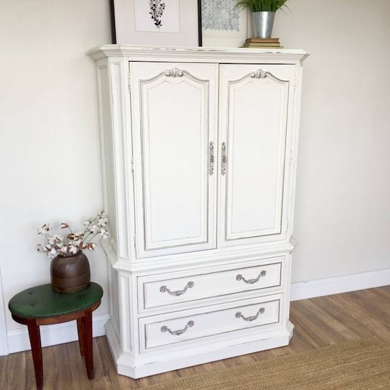 White Armoire  Shabby Bedroom Closet - Vintage Wardrobe for Nursery or Bedroom - Painted Distressed Furniture 4 Beach Cottage