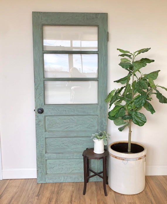 Green Wooden Door with Glass Rustic Farmhouse or Country Decor