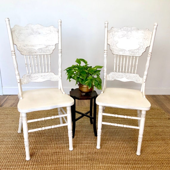 White Farmhouse Chairs - Distressed Painted Furniture