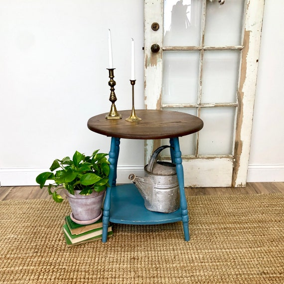 Round Side Table - Distressed Furniture