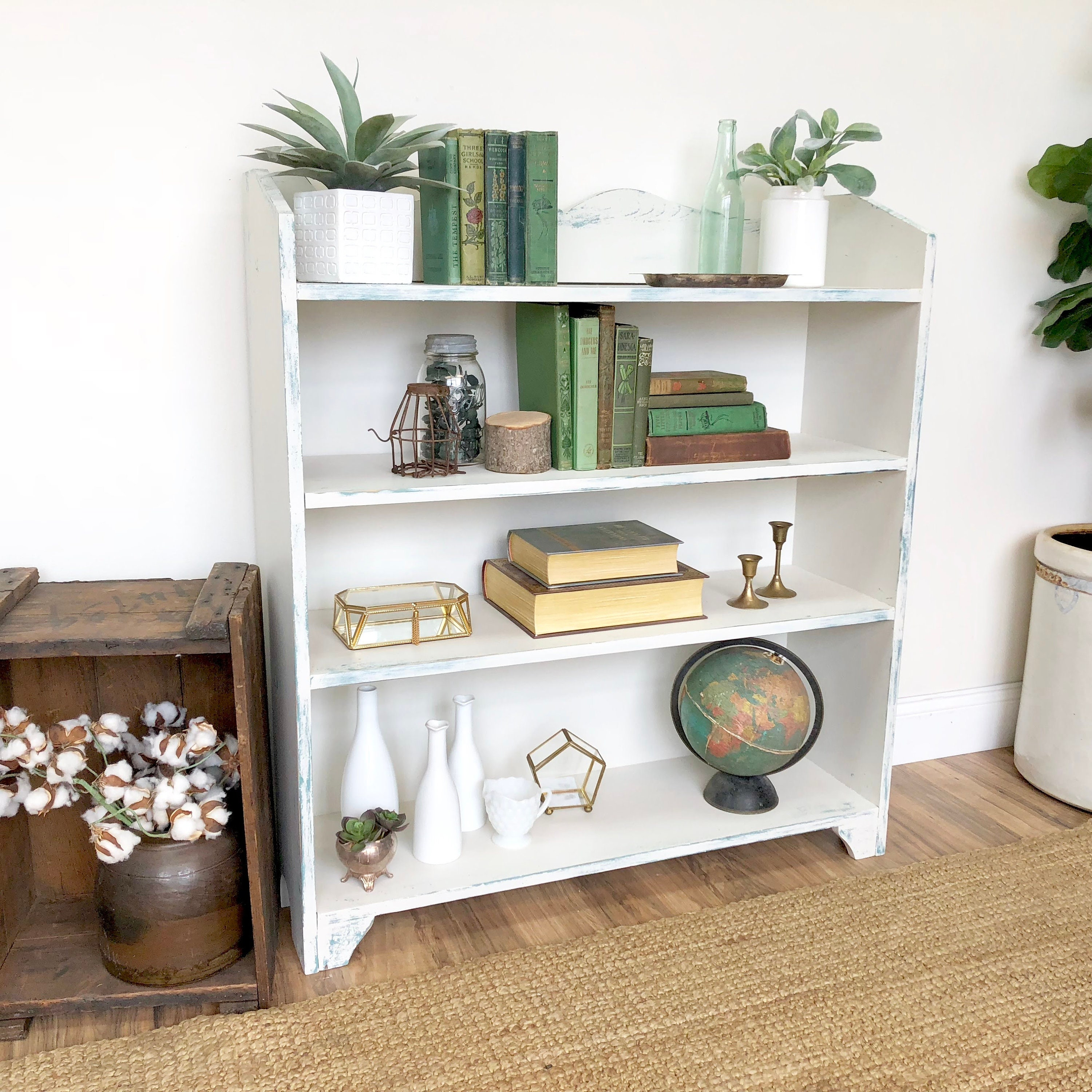 White Bookcase With Layered Painted Distressed Look