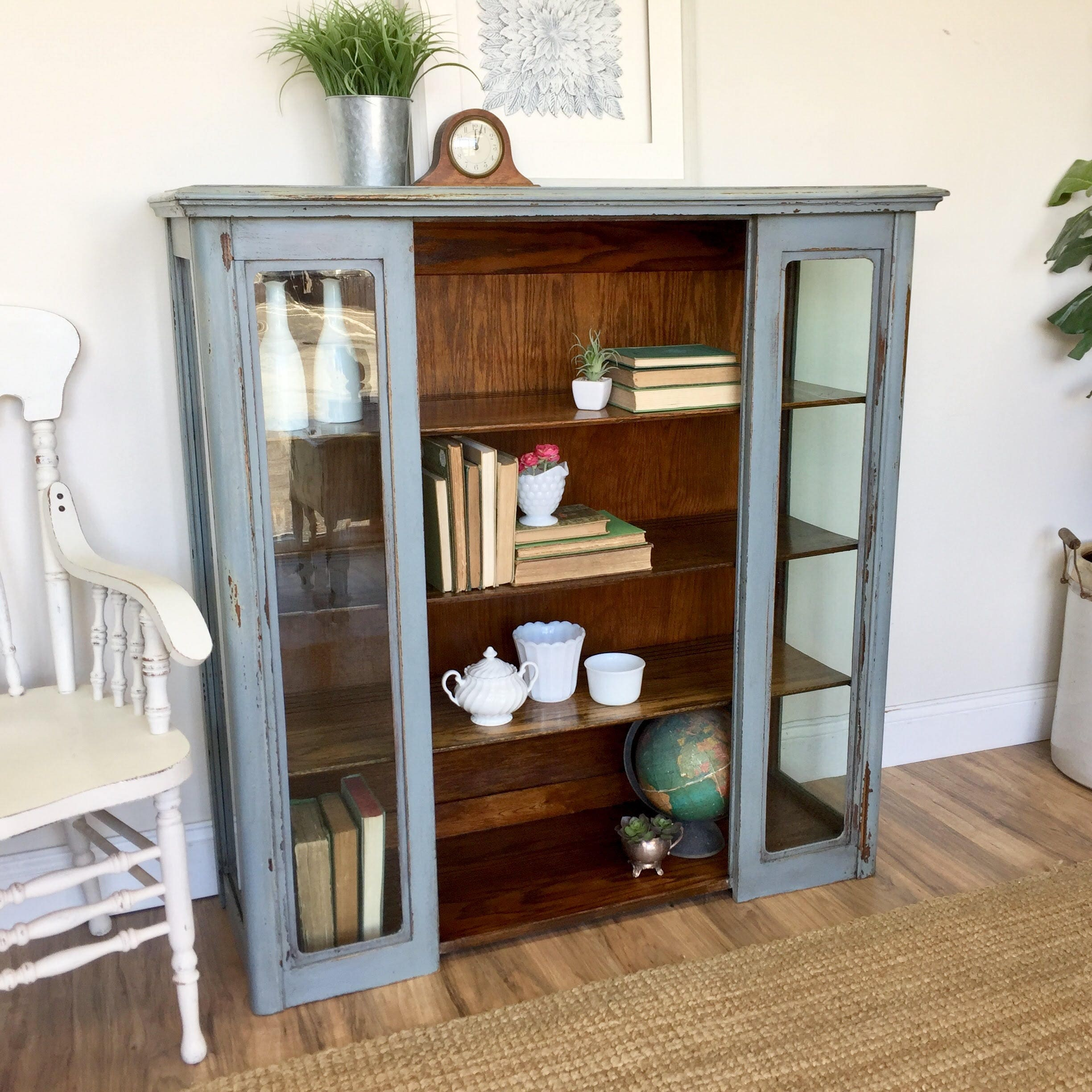 Painted Bookcase   Farmhouse Furniture   Rustic Bookcase   Glass Front  Cabinet   Antique Bookshelf, Vintage Furniture, China Display Cabinet