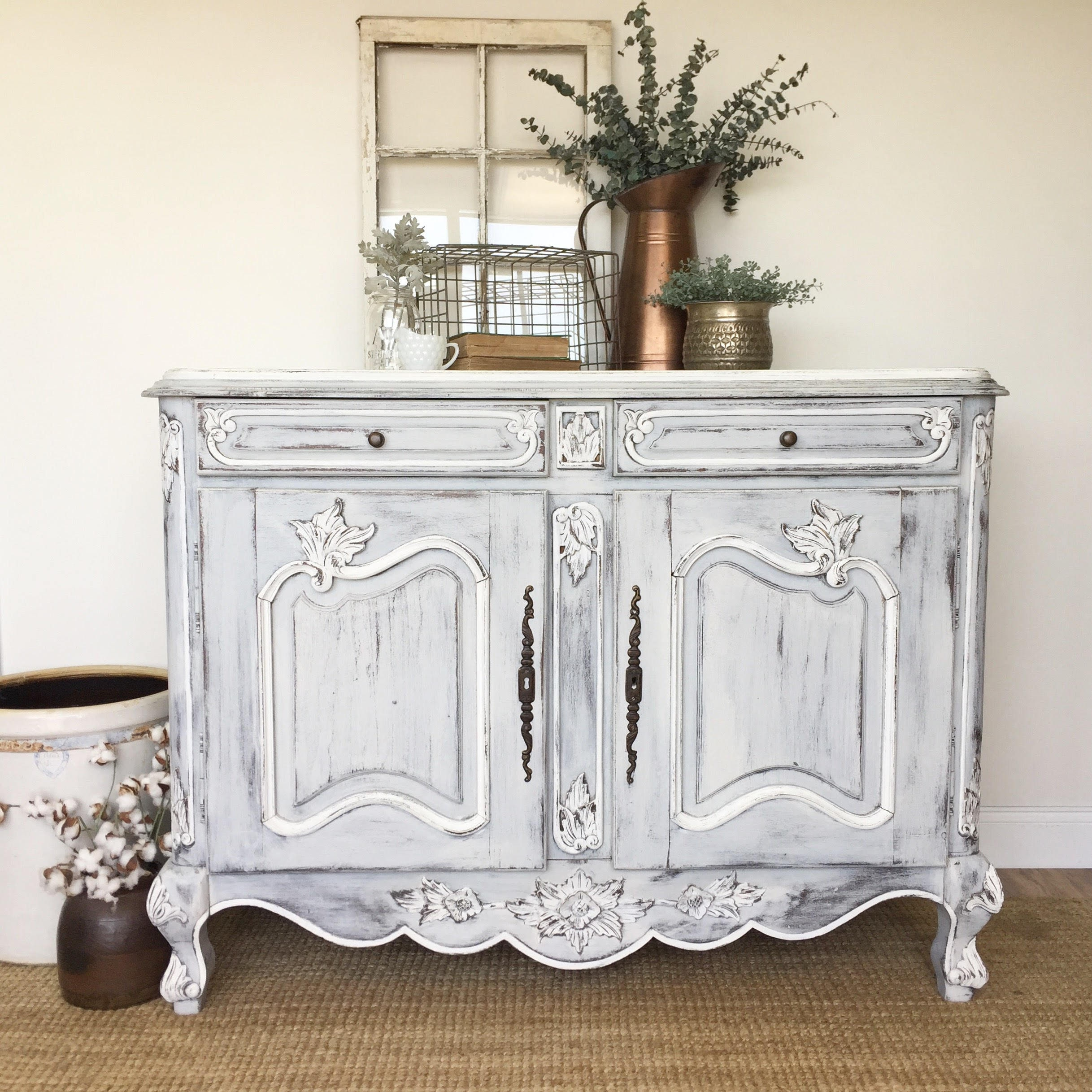 White French Country Farmhouse Sideboard Buffet Antique Etsy