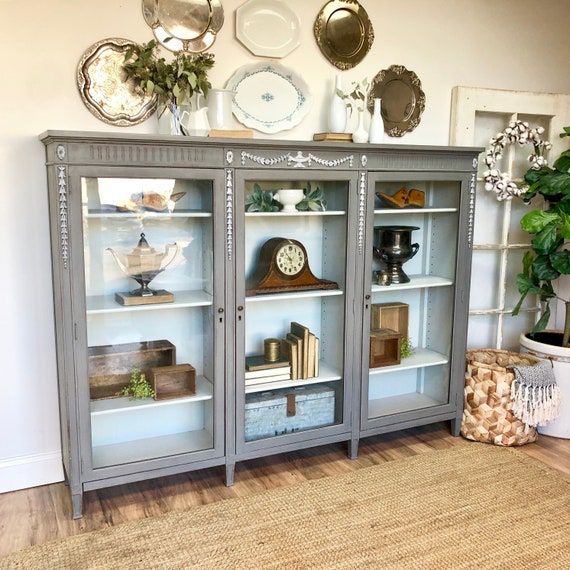 Bookcase with glass doors - Antique Display Case - Wide Bookshelf - Gray Storage Cabinet